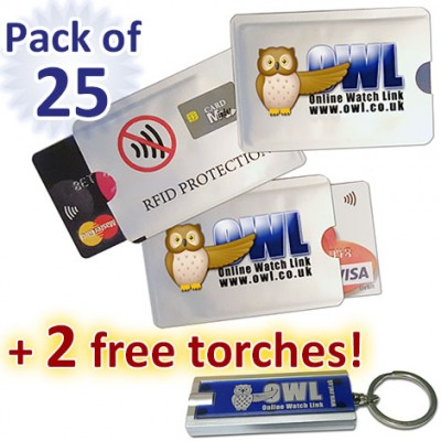 Card Minders, pack of 25 + 2 free torches