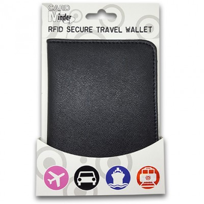 Travel Wallet - RFID protection for passport and cards (Black)