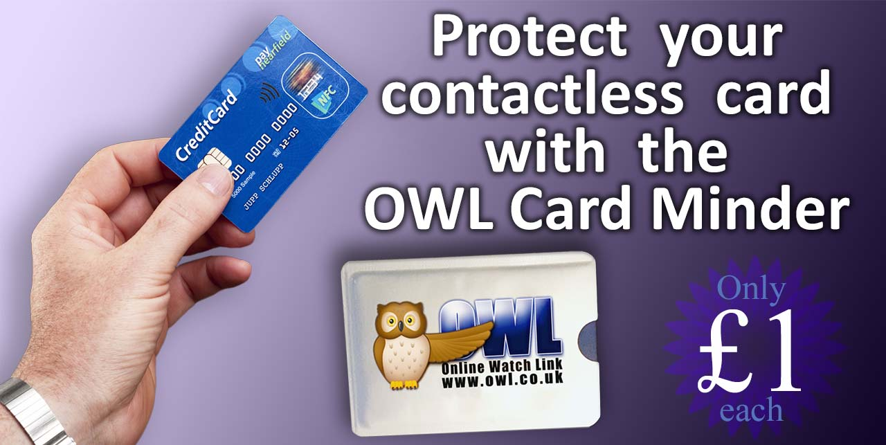 Protect your contactless credit card with the OWL Card Minder sleeve, wallet, pouch